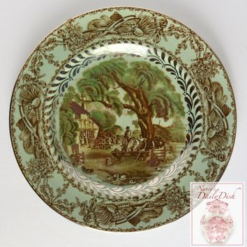 Reserved for Ronda  Wilkinson Rural Scenes Brown Transferware Salad Plates & Serving Bowls w/ Silver Overlay Hunt Scene Cottage Horse Farm Cows