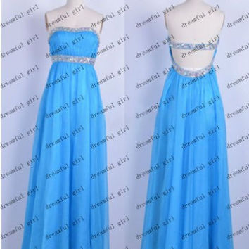 Sexy back style blue chiffon with beading and sequins Fashion New arrivel evening dresses