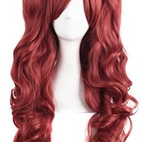MapofBeauty Lolita Long Curly Clip on Ponytails Cosplay Wig (Bronze Red)