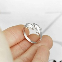 Coating Double Dolphins Ring