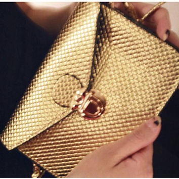 Womens Mini Gold ( or Silver or Black) Evening Bag, Purse
