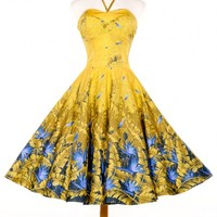 Sea Siren Dress in Mustard and Blue Tropical Palm