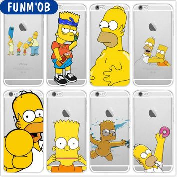 FUNM'OB Ultra Thin Simpsons Soft Silicone Clear TPU Phone Case Cover For iphone 6 6s 7 8 Plus 5s SE X Shell Capinha Coque Fundas