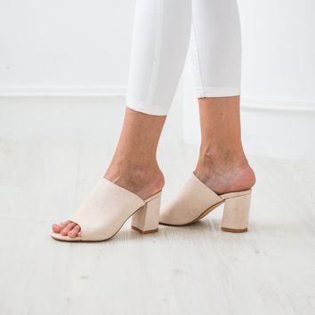 'Elizabeth' Almond Peep Toe Booties Suede Leather Sandals