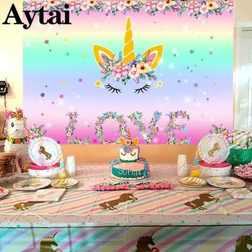 Aytai 7x5ft Unicorn Party Backdrop Unicornio Horn Ears Birthday Backdrop Decorations Baby Shower Birthday Party Favor