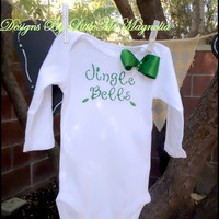 "Christmas Onesuit  Green Sparkle "" Jingle Bells"" Christmas T shirt For Baby Girl and Girls"