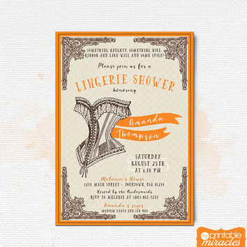Lingerie shower invitation / Vintage printable bridal shower invitation / Bachelorette party / Lace corset costume party invite