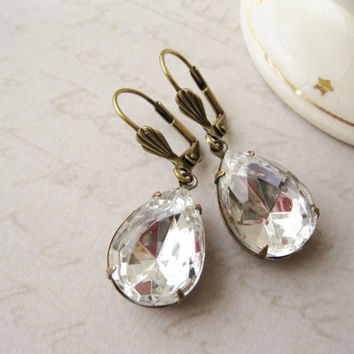 Crystal Teardrop Earrings, Vintage Style Wedding Jewellery, Old Hollywood Glam, Bridal Jewellery, Rustic, Antique Brass, Statement Earrings
