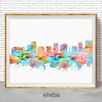 Orlando Florida, Orlando City Orlando Print Orlando Skyline City Wall Art Office Poster Travel Art Skyline Art, Office Wall Art ArtPrintZone