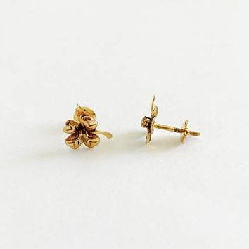 Vintage Gold Screw Back Post Earrings with Sweet Good Luck Four Leaf Clover Design, Shamrock with Stem and Center Crystal Chip