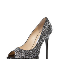 Jimmy Choo | Crown Volume Glitter Pump in Silver www.FORWARDbyelysewalker.com