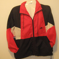Vintage Nike Red, Black, and White Nylon Jacket with Zipper Closure