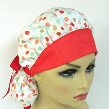 Bouffant Women's Surgical Scrub Cap Polka Dots and Red