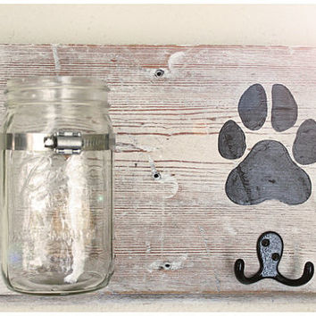 Dog Treat & Leash Holder | Rustic, Reclaimed Wood, Handpainted