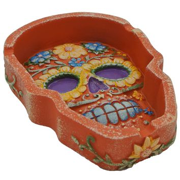 Skull Shaped Floral Ashtray Orange Polystone