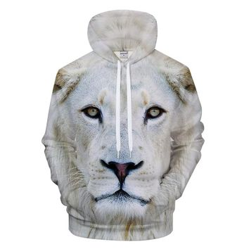 Loose men's 3d hoodies white lion animal print hoodies for men and women hip-hop hoodie coat men harajuku moletom masculino