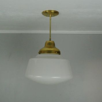 Vintage Milk Glass Drum Pendant Light