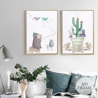 Morden Cartoon Bear Cactus Nordic Style Canvas Painting Posters And Prints Plant Vase Witcher Art Wall Picture For Living Room
