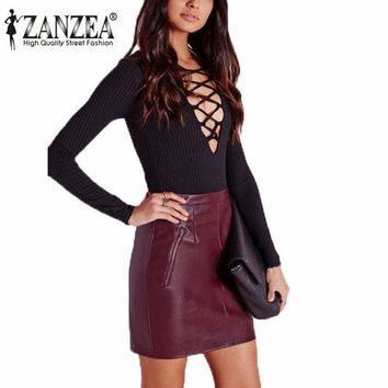 ONETOW Zanzea Vintage New 2016 Women Soft PU Leather Skirt High Waist Slim Hip Pencil Skirts Zipper Sexy Bodycon Mini Skirt Clubwear