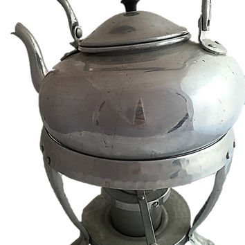 Vintage SILVER Teapot with Warming Stand, Tea Kettle Viking British Colony Hong Kong Hammered Aluminum