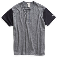 Short Sleeve Blocked Henley in Salt and Pepper