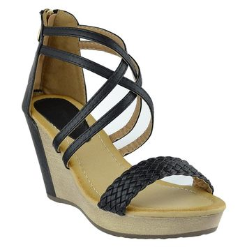 Womens Platform Sandals Weaved Strappy High Wedge Shoes black
