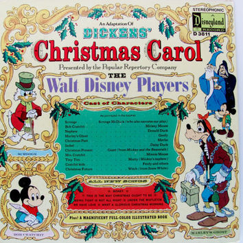 Vintage Record Album Vinyl LP Walt Disney Players Dickens' Christmas Carol 1974  Mickey Mouse Retro Holiday Decor