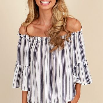Let's Voyage Striped Top White/Navy