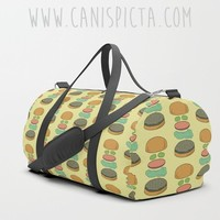 Burger Inspired DUFFEL BAG Food Travel Suitcase Yellow Cartoon Television TV Show Funny Fandom Hamburger Foodie Belcher Cheeseburger Pickle