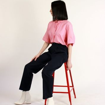 Classic Navy Pleated Trousers / M