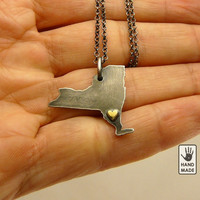 I heart  NEW YORK  State , sterling silver necklace, sterling silver chain, love, brass heart, small