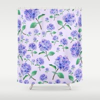 purple blue hydrangea in purple background  Shower Curtain by Color and Color