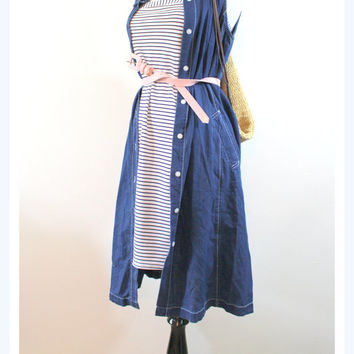 Vintage halter dress/ stripe cover up/knee length sun dress