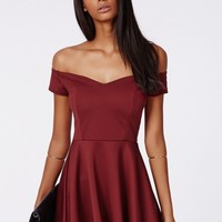 Missguided - Satyra Ponte Bardot Skater Dress Oxblood