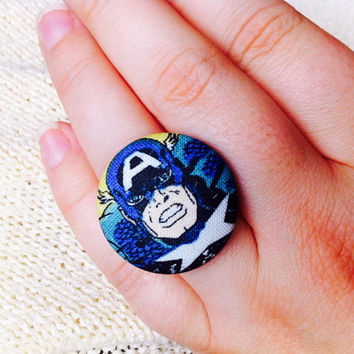 Captain America Fabric Button Ring, Covered Button Ring, Superhero Ring, Cosplay, Comic Con Accessories