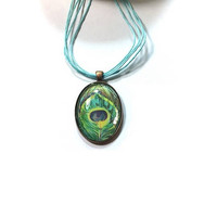 Peacock Feather Glass Dome Pendant  , Glass Dome Art  Pendant , Glass Dome Pendant Necklace