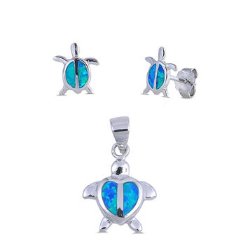 Sterling Silver Small Created Blue Opal Inlay Turtle Pendant & Earrings Set