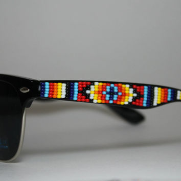 beaded sunglasses tribal print by brownbeadednet on Etsy