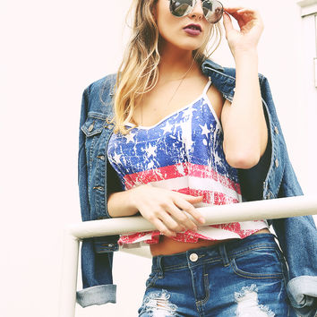 American Flag Vingate Washing Cami