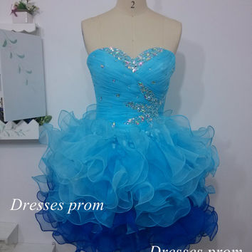 Short Mini Prom Dresses, Cheap Short Formal Dresses,Custom Ombre Blue Sweetheart cocktail dress