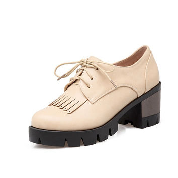 Retro Tassel Lace Up Women Chunky Heel Pumps 3398