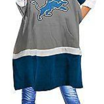 NFL Detroit Lions Hoodie Poncho (one Size Fit Most) %100 Licensed
