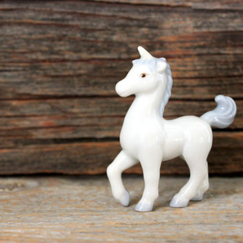 vintage unicorn porcelain miniature figurine