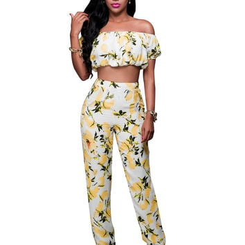 Flower Yellow Slash Crop Top and Matching Pants 22158