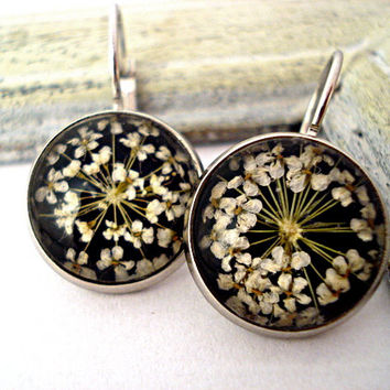 Real flower earrings BLACK - dried flowers in  real glass silver settings with french clips- spring jewelry for her