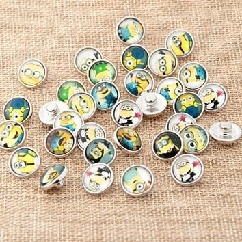 NEW 12mm Mini Snaps Button 20pcs/lot Movie Minions Carton Glass Diy Snap Button Fit Snap Button Charm Bracelet Jewelry YY063