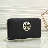 Tory Burch Fashionable Women Leather Zipper Purse Wallet Black