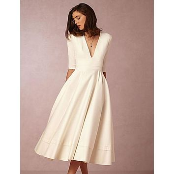 A-Line Plunging Neck Tea Length Jersey Elegant Prom / Holiday Dress 2020 with