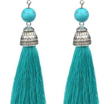 Time to Tassel Turquoise Tassel Earrings