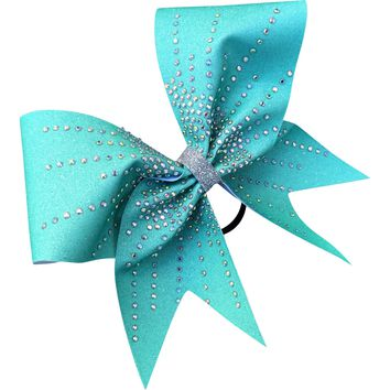 Teal sublimated glitter bow with AB rhinestones